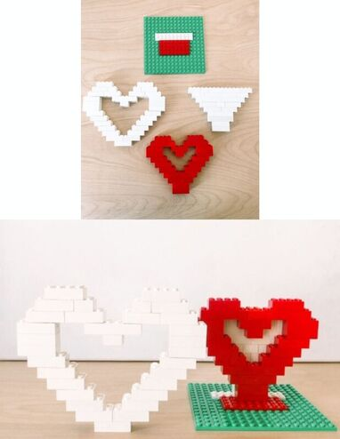 Hearts made out of Lego's.
